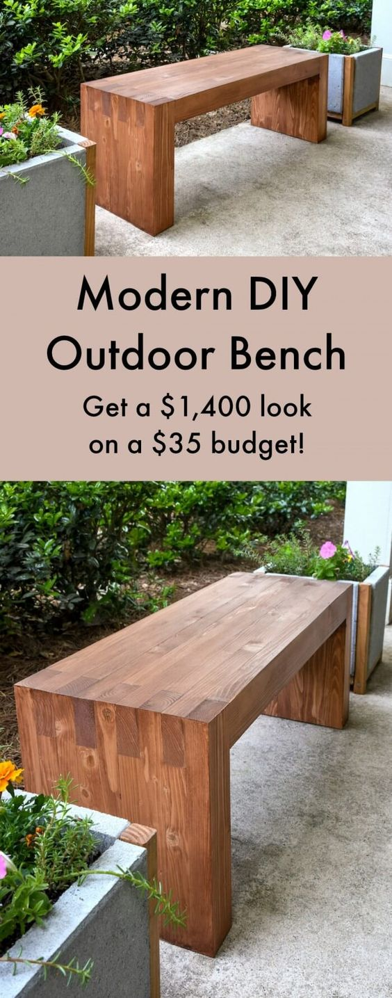 Easy Modern Wooden Bench.