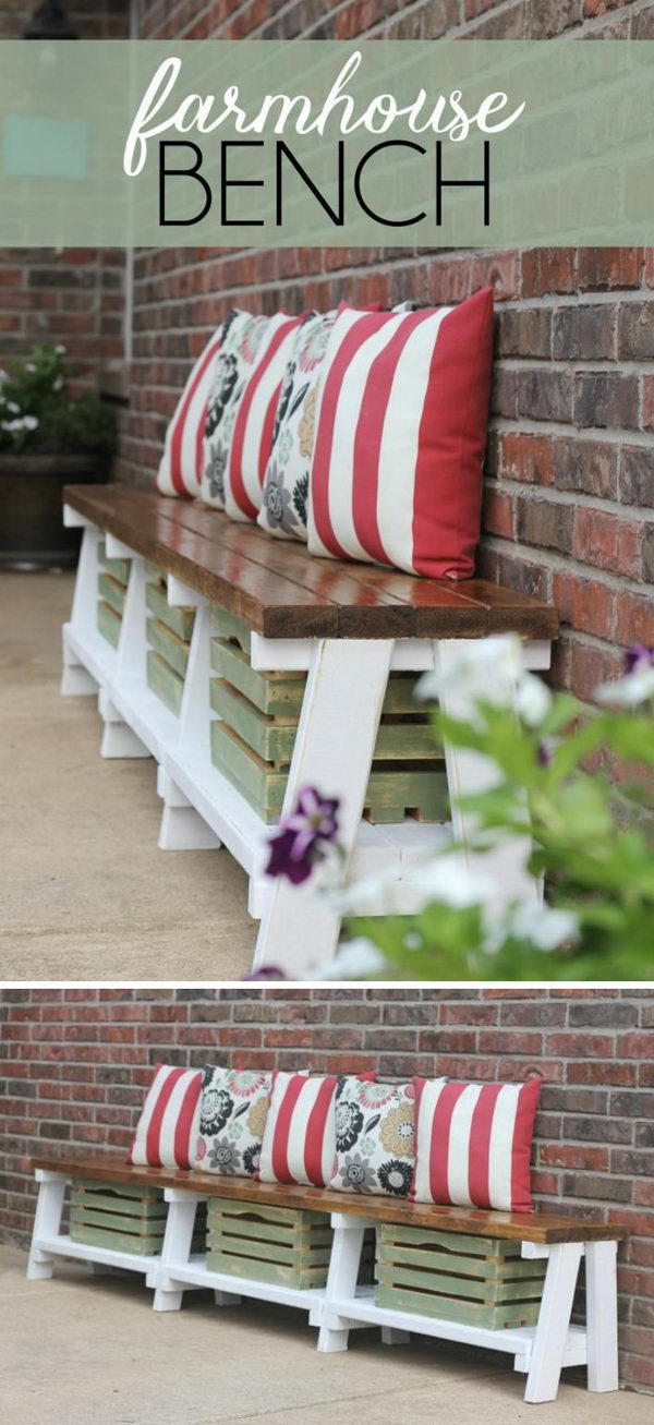 DIY Rustic Bench With Crate Storage.