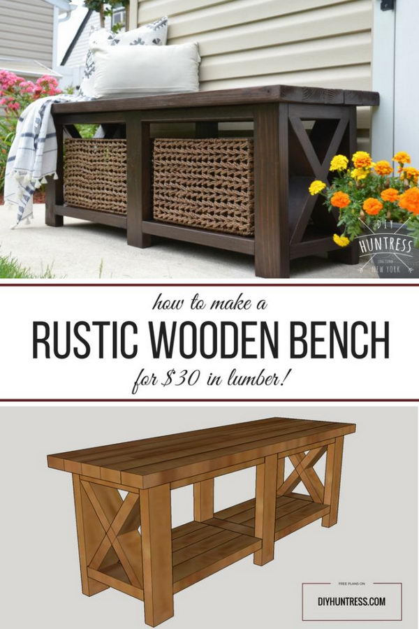 DIY Rustic X Bench.