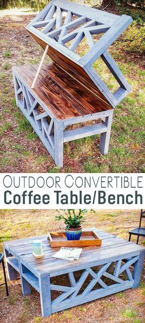 Outdoor Convertible Coffee Table Bench.