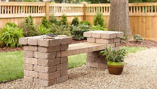 DIY Patio Block Bench.