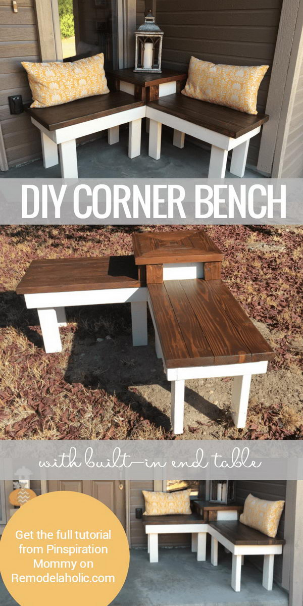 DIY Corner Bench with Built In Side Table.