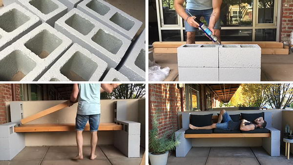 DIY Concrete Block Bench for Outdoor.