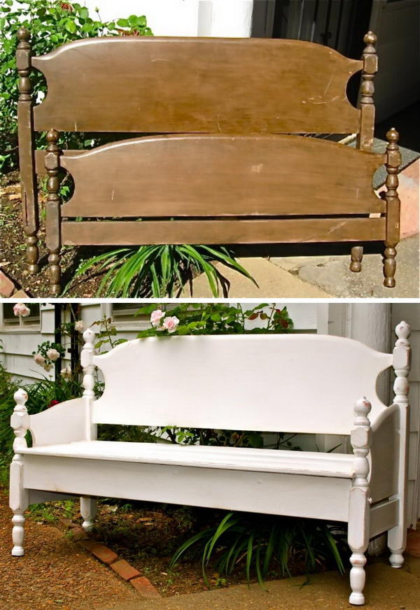 DIY Garden Bench From A Bed.