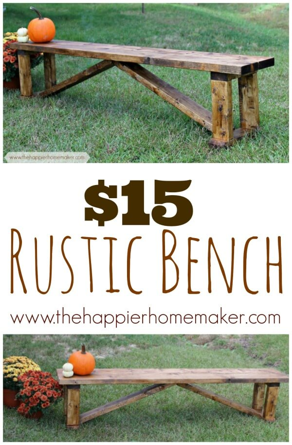 Rustic $15 DIY Bench.