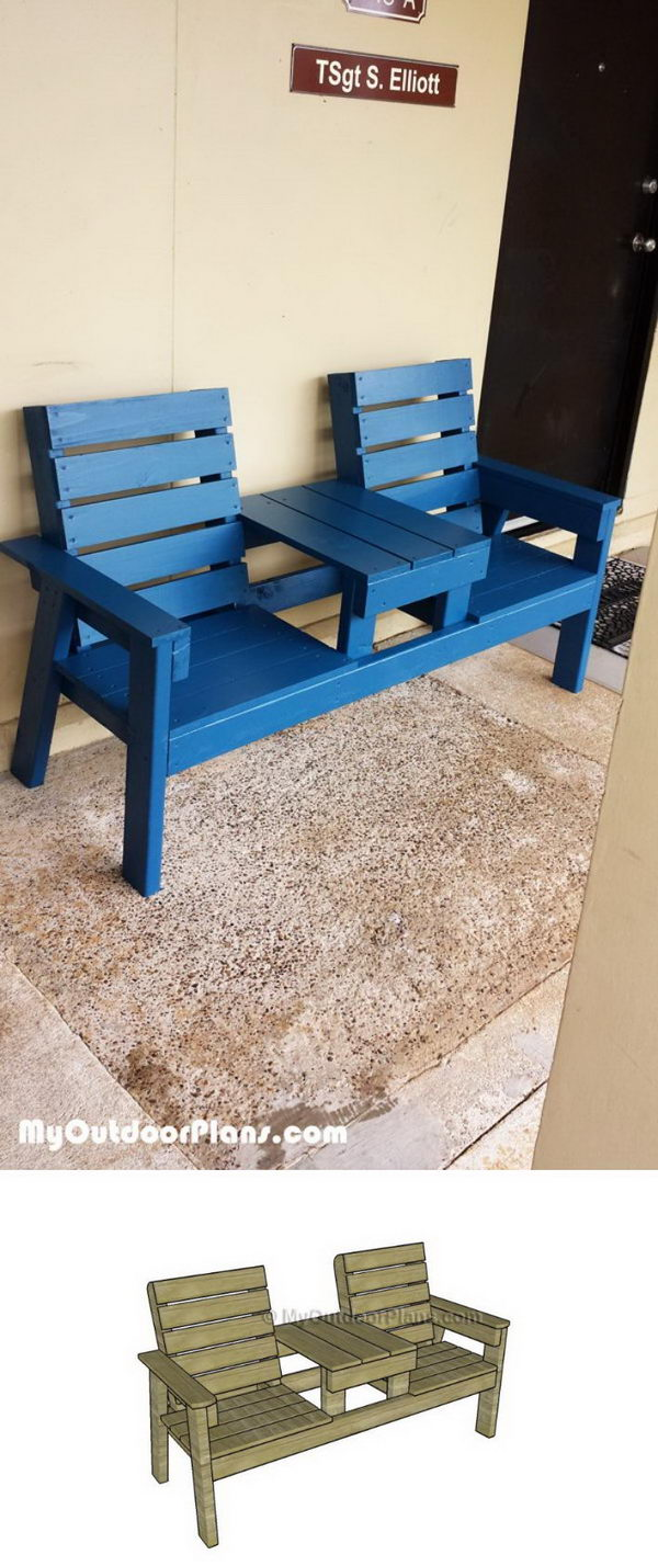 DIY Outdoor Bench With Table.