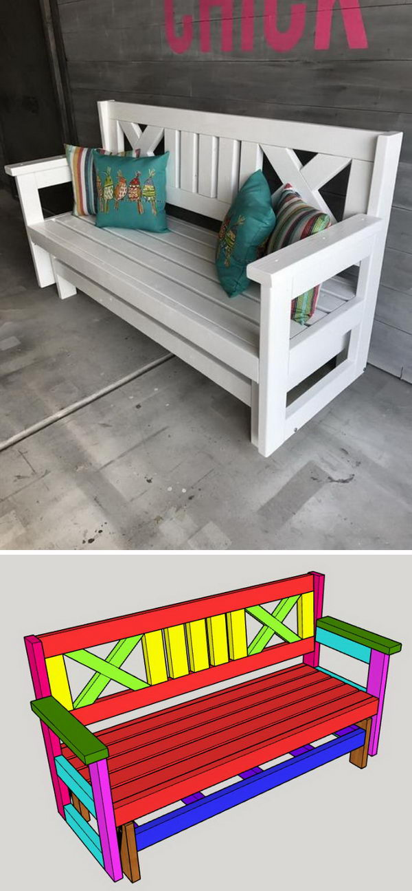 DIY Farmhouse Outdoor Glider Bench.