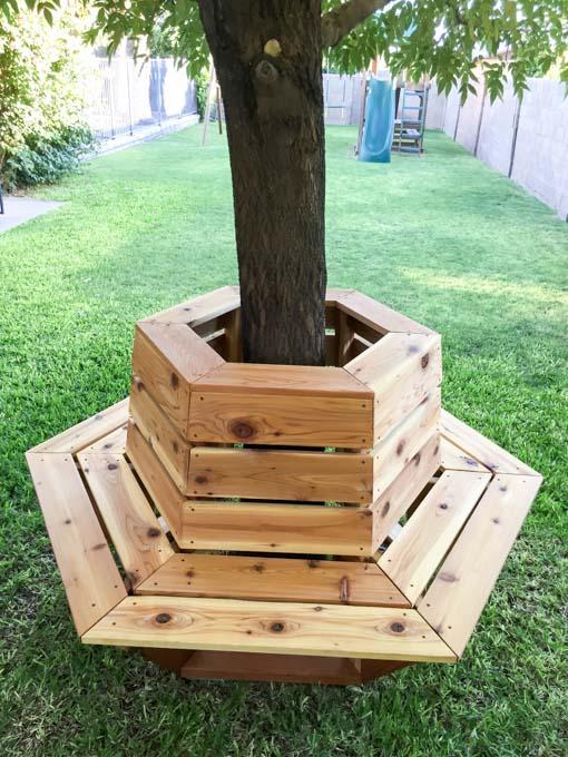DIY Hexagon Cedar Tree Bench.