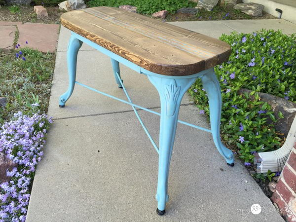 French Bench from Repurposed Barstool Legs.