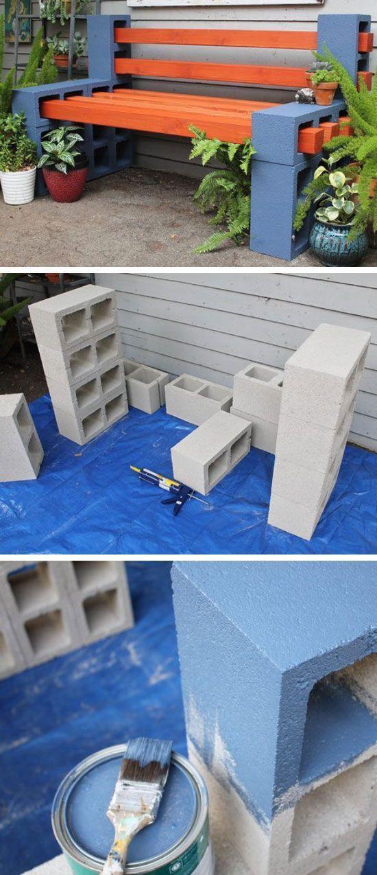 Cement Blocks And Wood Garden Bench.