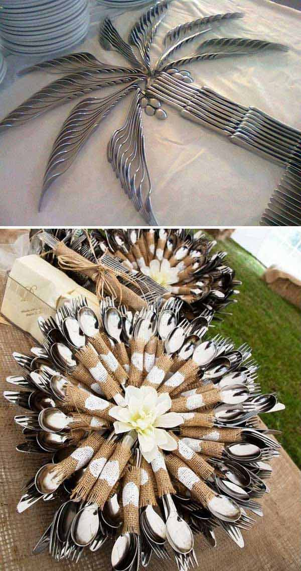 Fun cutlery display ideas for wedding table.