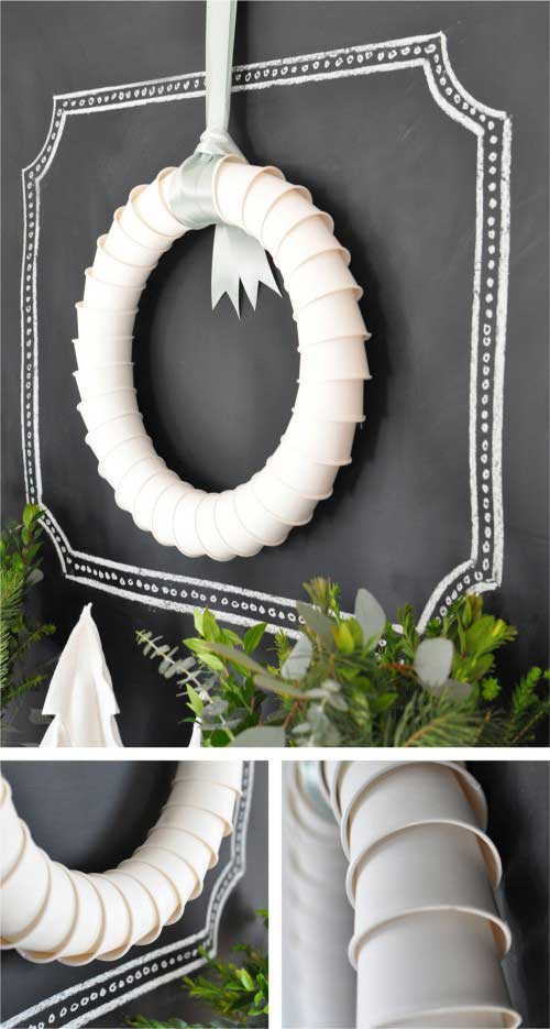 Simply slide the paper cups inside of eachother and secure with hot glue to make this lovely wreath.