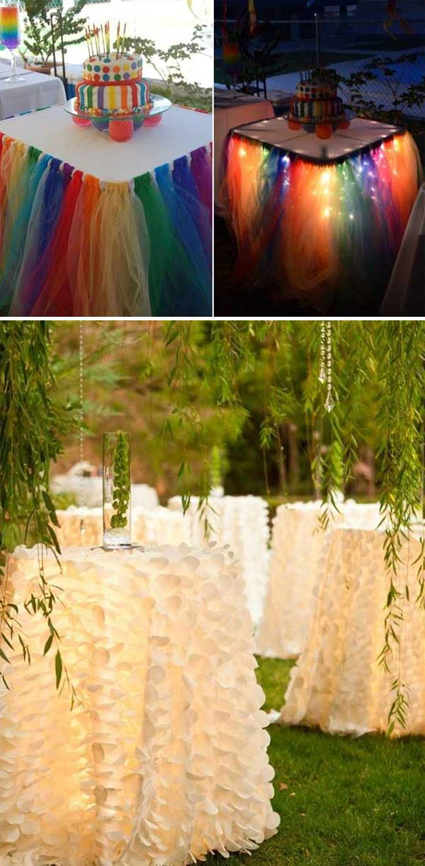 Rainbow tulle skirts or white ruffled skirts for wedding tables.