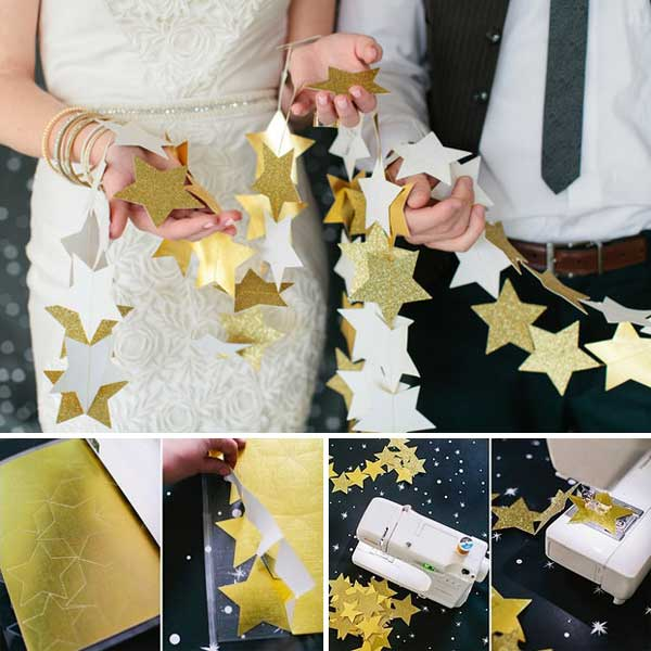 DIY a star garland to let your wedding party looks like a million bucks.
