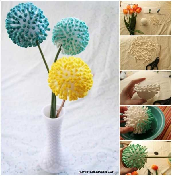 Rethink Q tips into adorable flowers as a centerpiece.