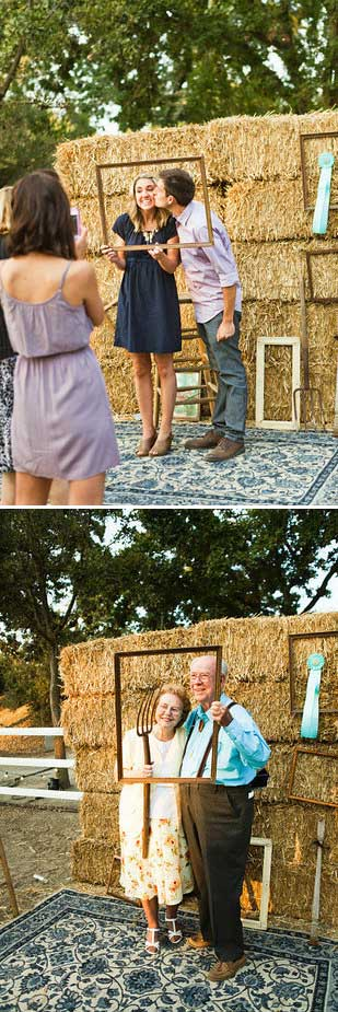 Create a photo booth from a pile of hay you can buy them from an animal feed store;.