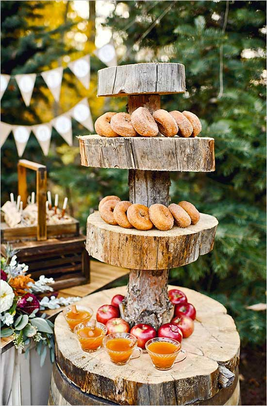 Display deliciously seasonal doughnuts and apple cider on a wood block holder.