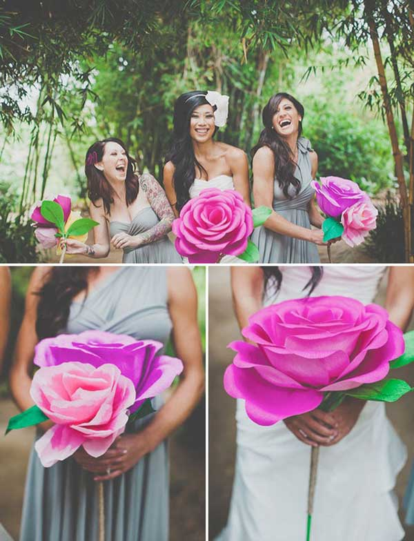 Instead of a bouquet, one big ass paper flower.
