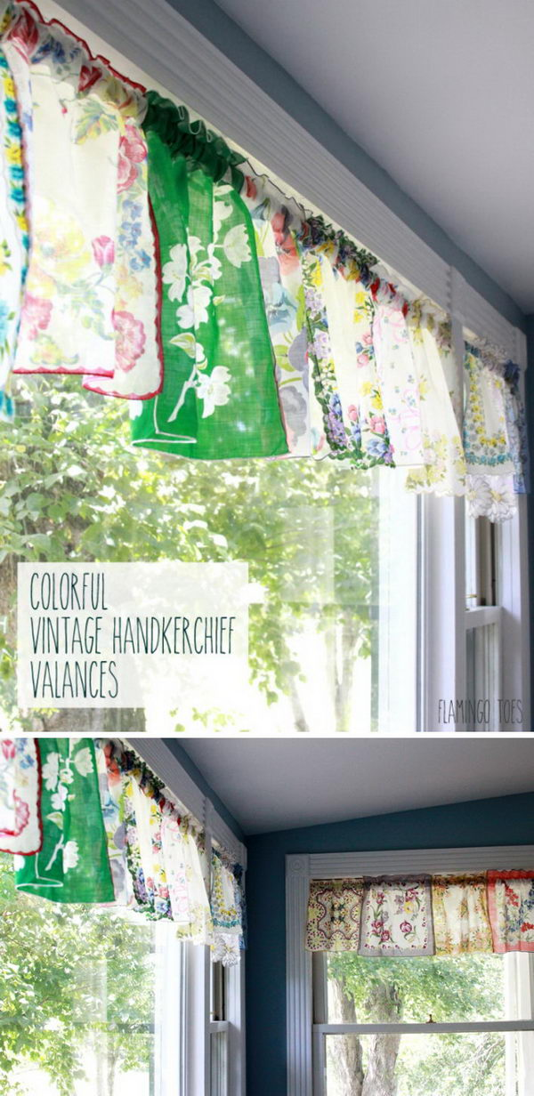 Colorful Vintage Handkerchief Valances.