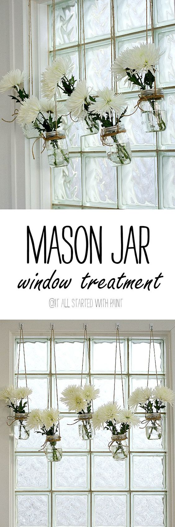 Mason Jar Window Treatment.