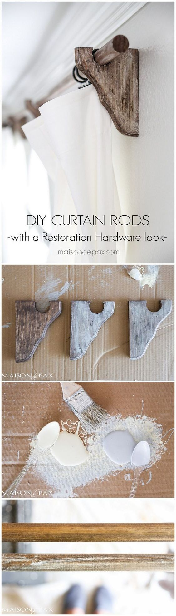 Wood Curtain Rods with a Restoration Hardware Look.