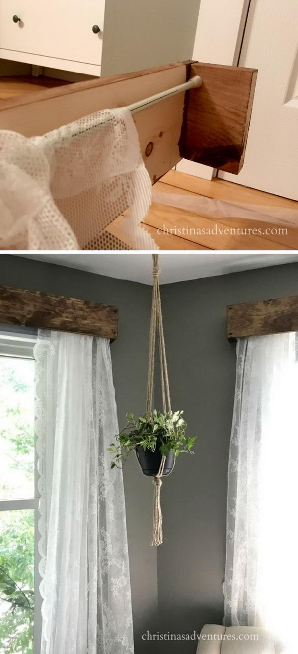 Diy Rustic Window Valances With Lace Curtains