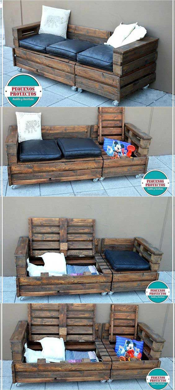 Wooden Pallet Sofa on Wheels With Hidden Storage.