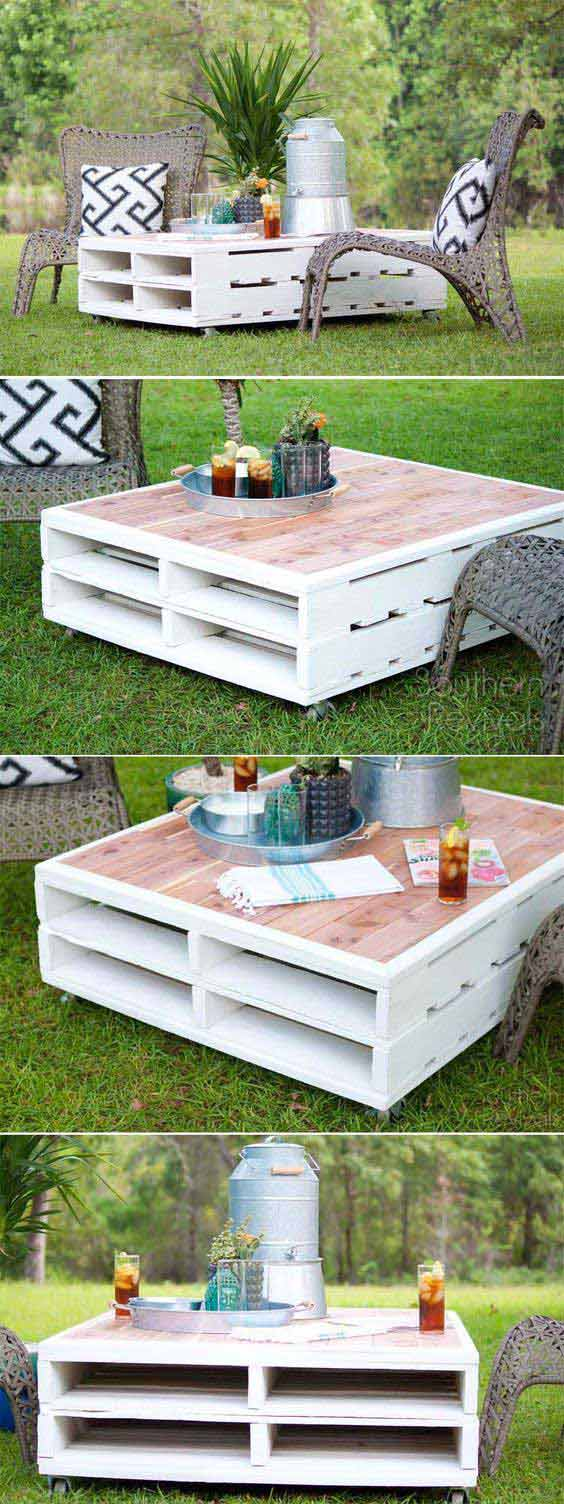 DIY Pallet Coffee Table Gets an Outdoor Makeover with exterior paint and cedar planking.
