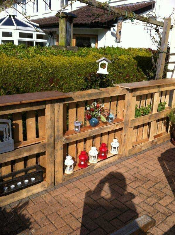 Reuse Old Pallets as Outdoor Bar and Shelves.