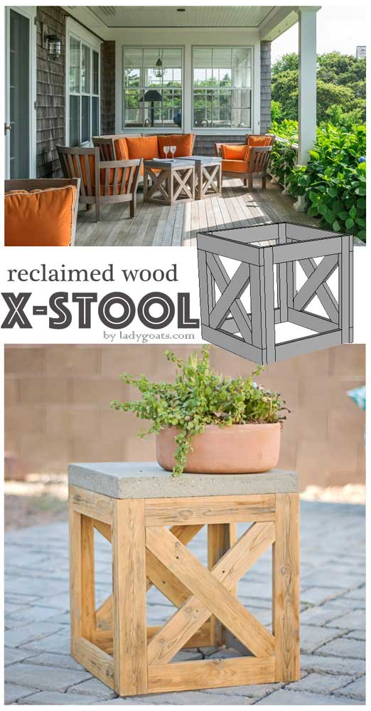 DIY Reclaimed Wood X Stool or Table.