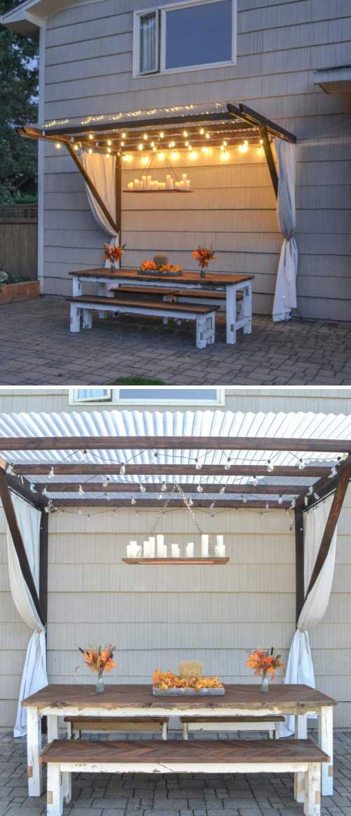 DIY Frugal Pergola and Dining Table.