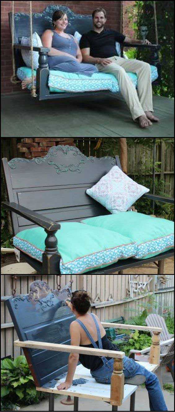A Porch Swing From A Recycled Headboard.