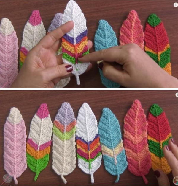 Crochet Reversible Feathers.