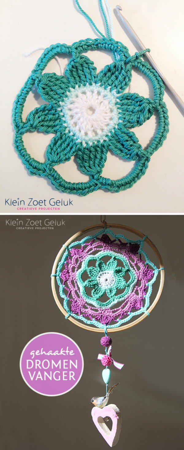 Crochet Flower Dream Catcher.