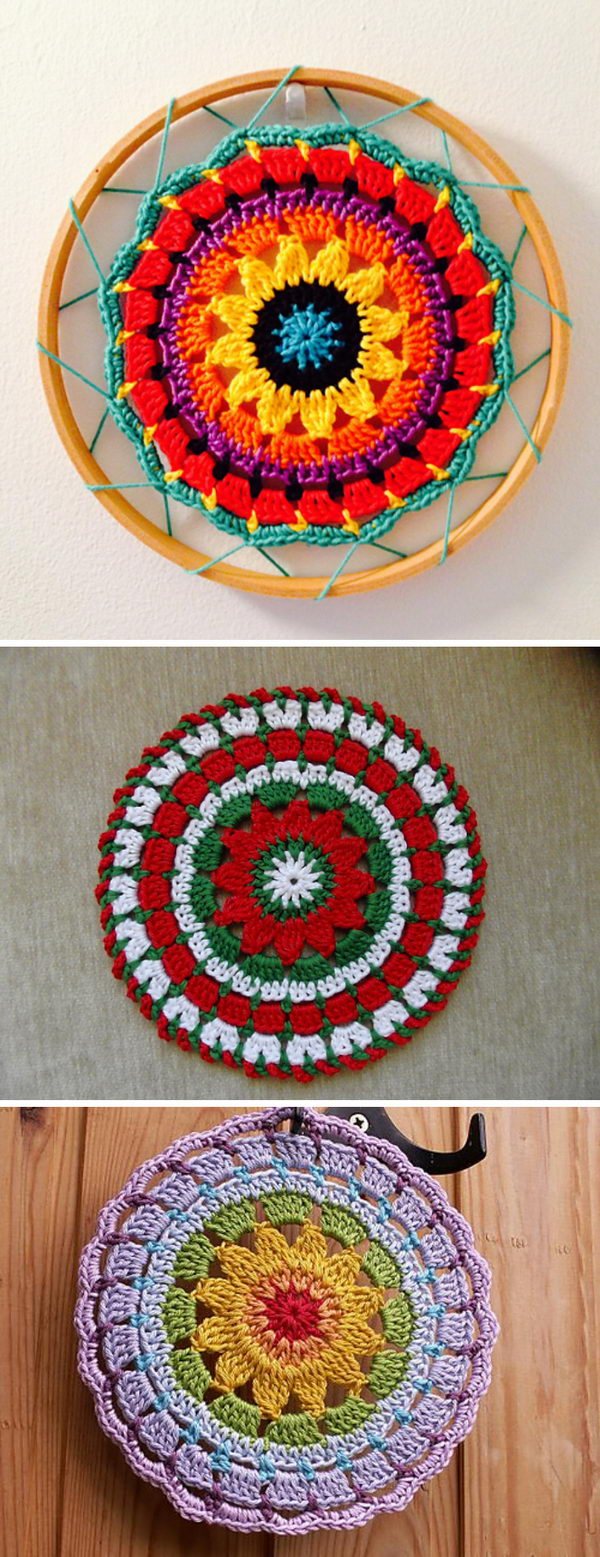 Crochet Sunny Flower Mini Mandala Sun Catcher.