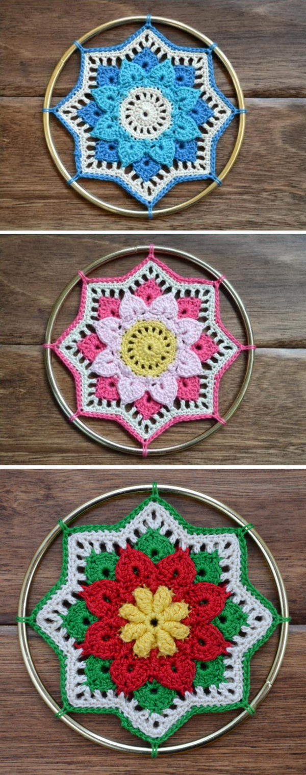 Crochet Rhiannon Crocodile Stitch Doily Dream Catcher.