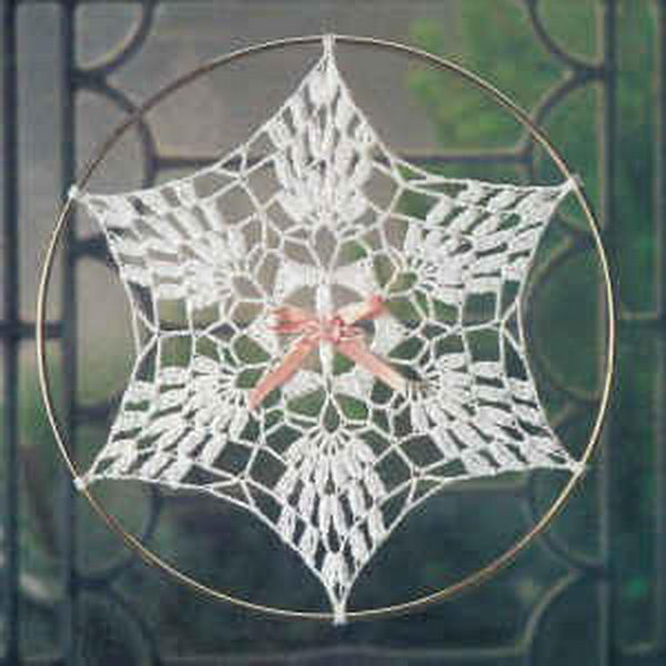 Crochet Pineapple Snowflake Suncatcher.