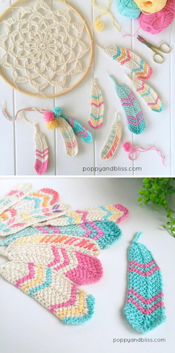 Crochet Tunisian Feathers.
