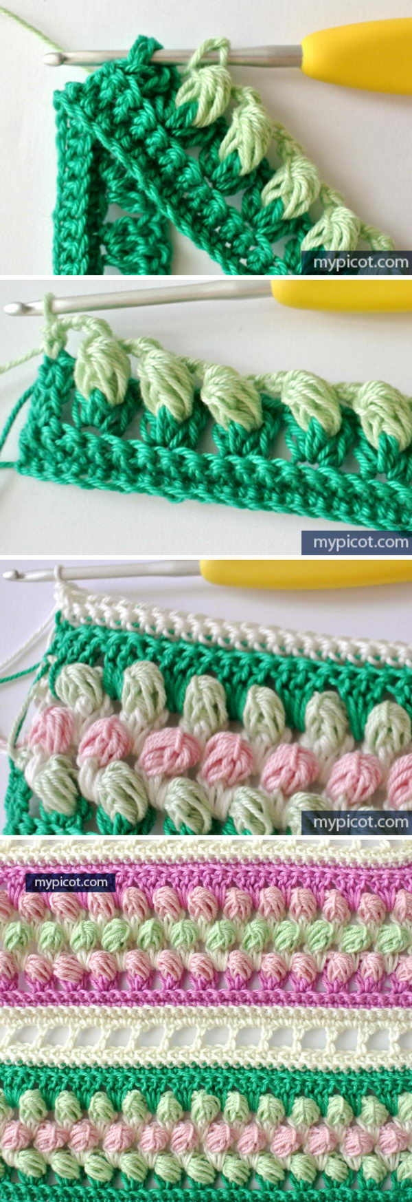 Striped Rosebud Stitch.