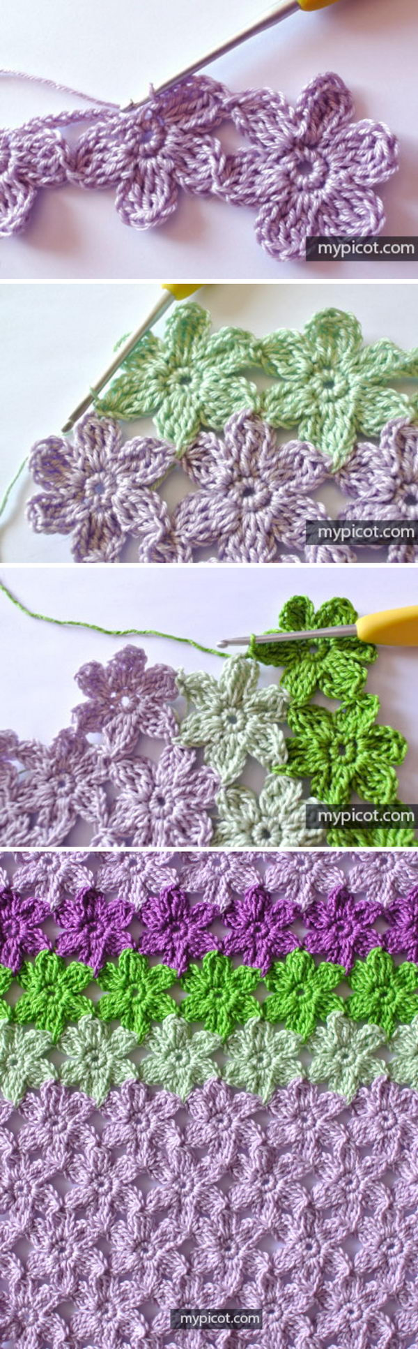 Crochet Joint Flower Stitch.