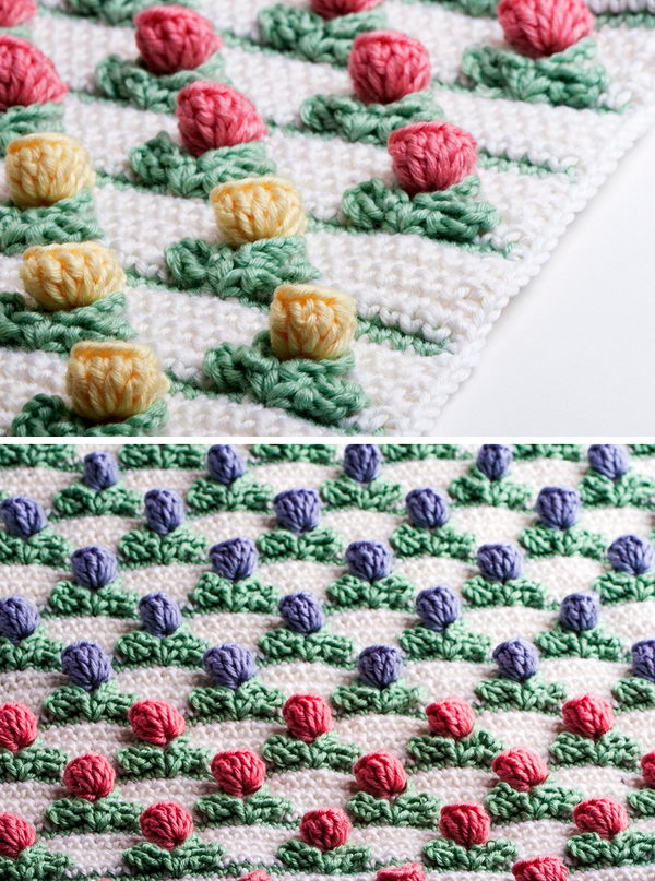 Crochet Pop Out Tulip Stitch.
