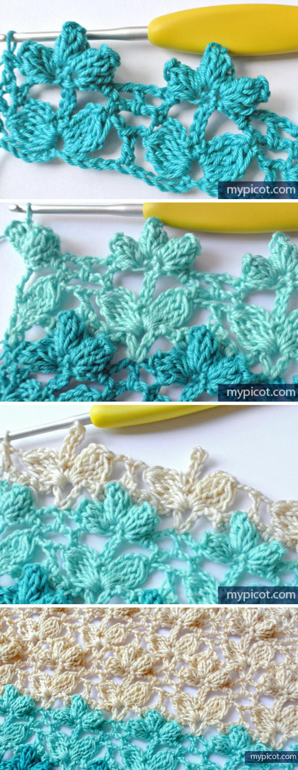 Crochet Popcorn Flower Stitch.