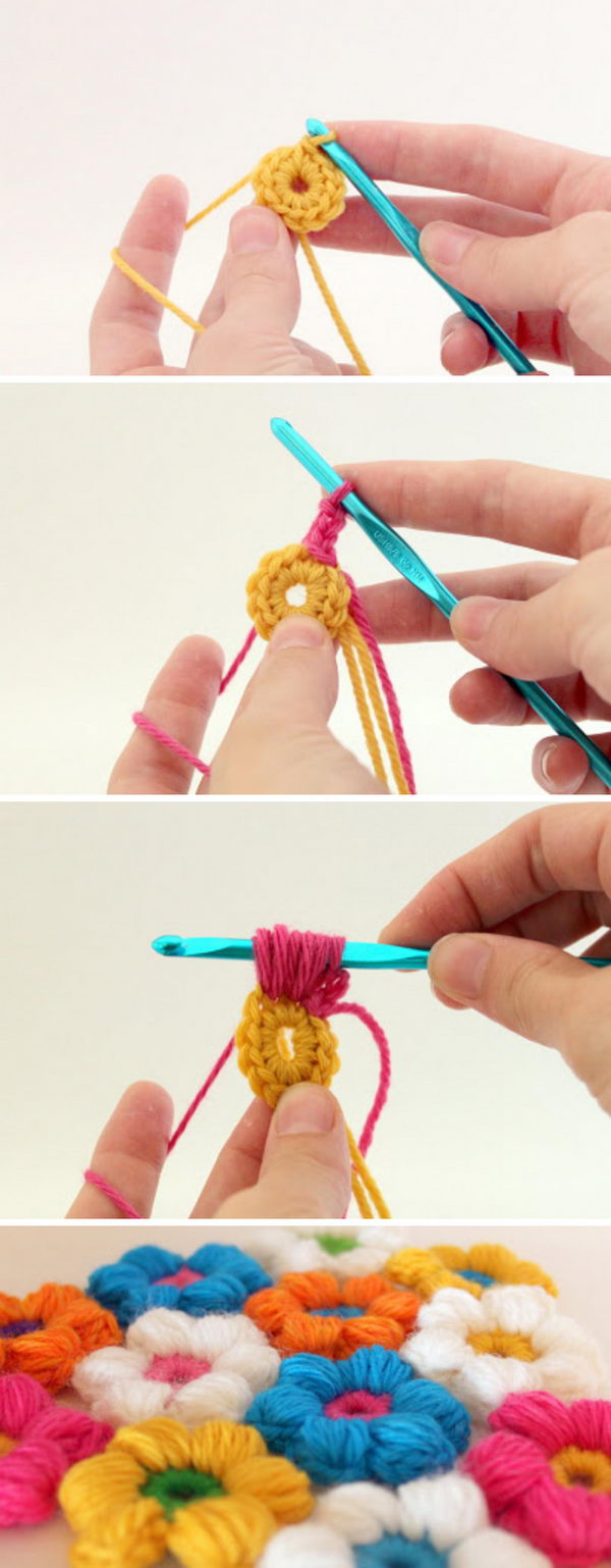 Crochet Puff Flower Stitch.