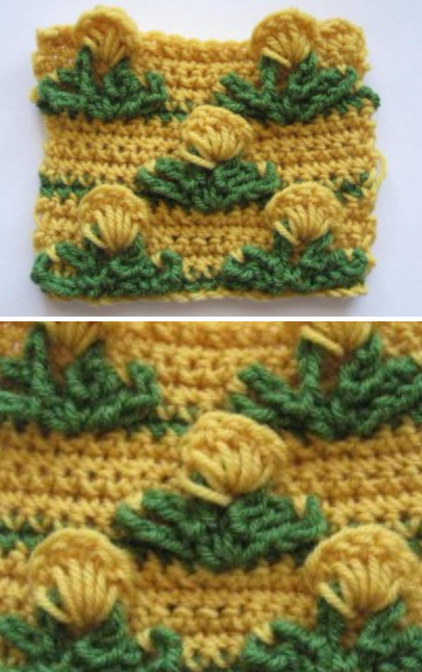 Crochet Pop Out Flower Stitch.