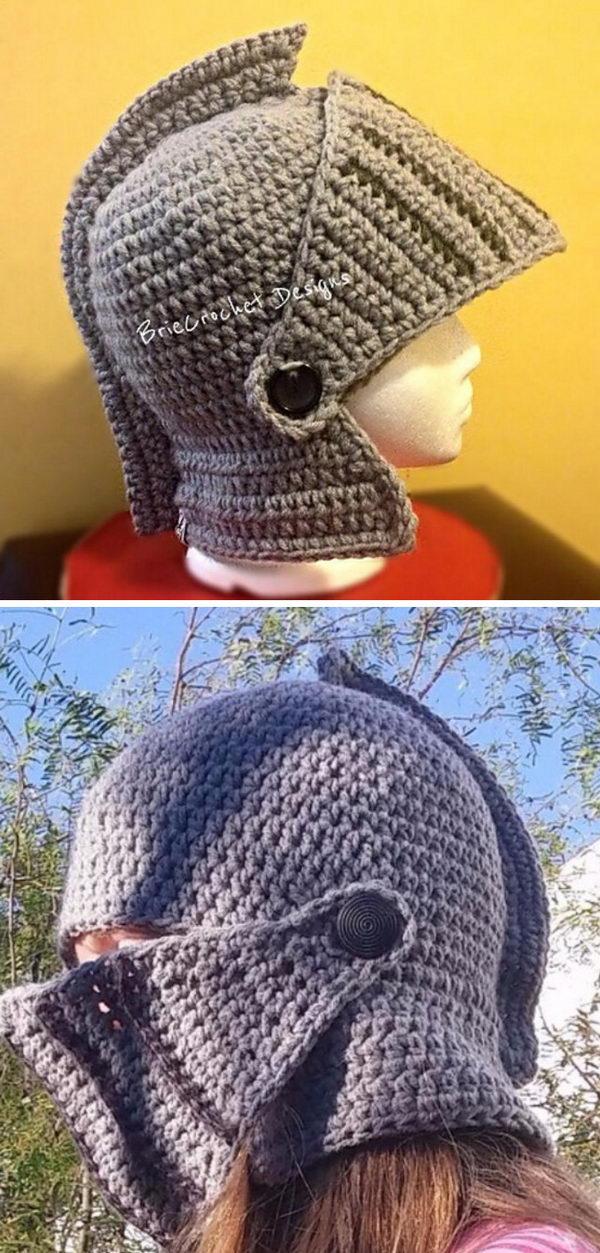 Crochet Extra Thick Knights Helmet.