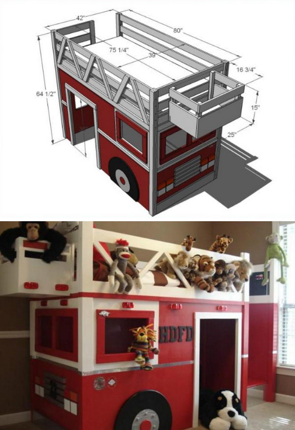 Fire Truck Bed Playhouse.