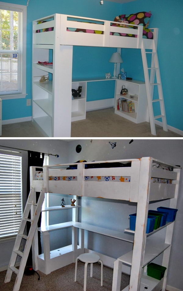 Diy Loft Bunk Bed With Desk