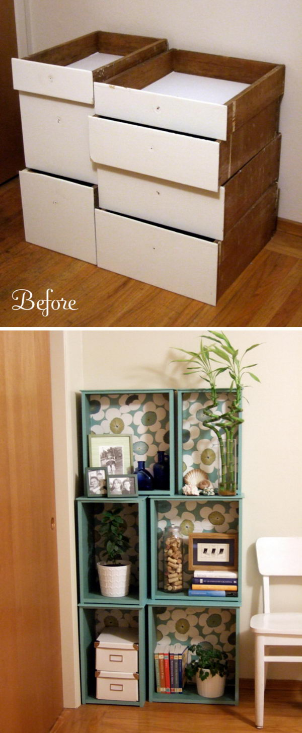 Salvaged Drawers Modular Bookcase.