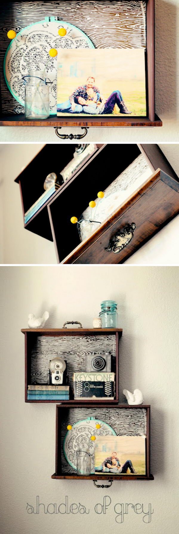 DIY Old Drawer Shelf.