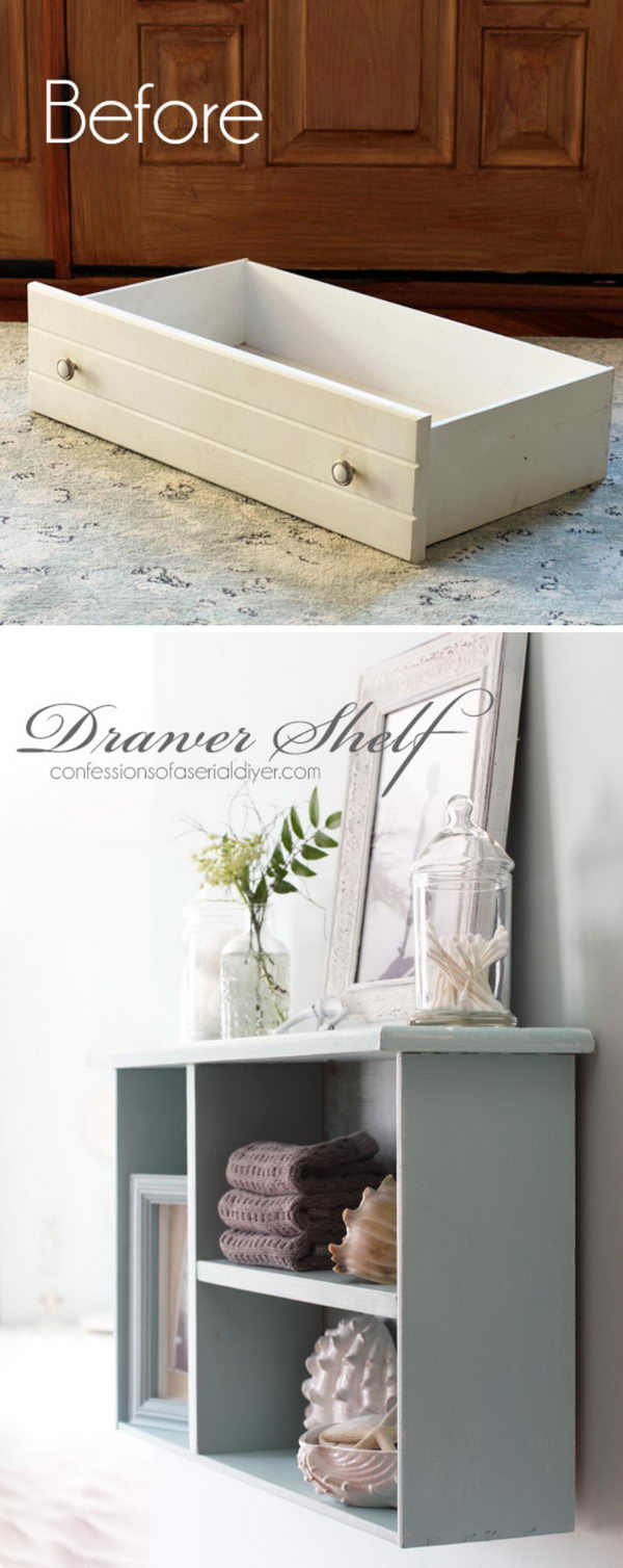 DIY Dresser Drawer Bathroom Shelf.